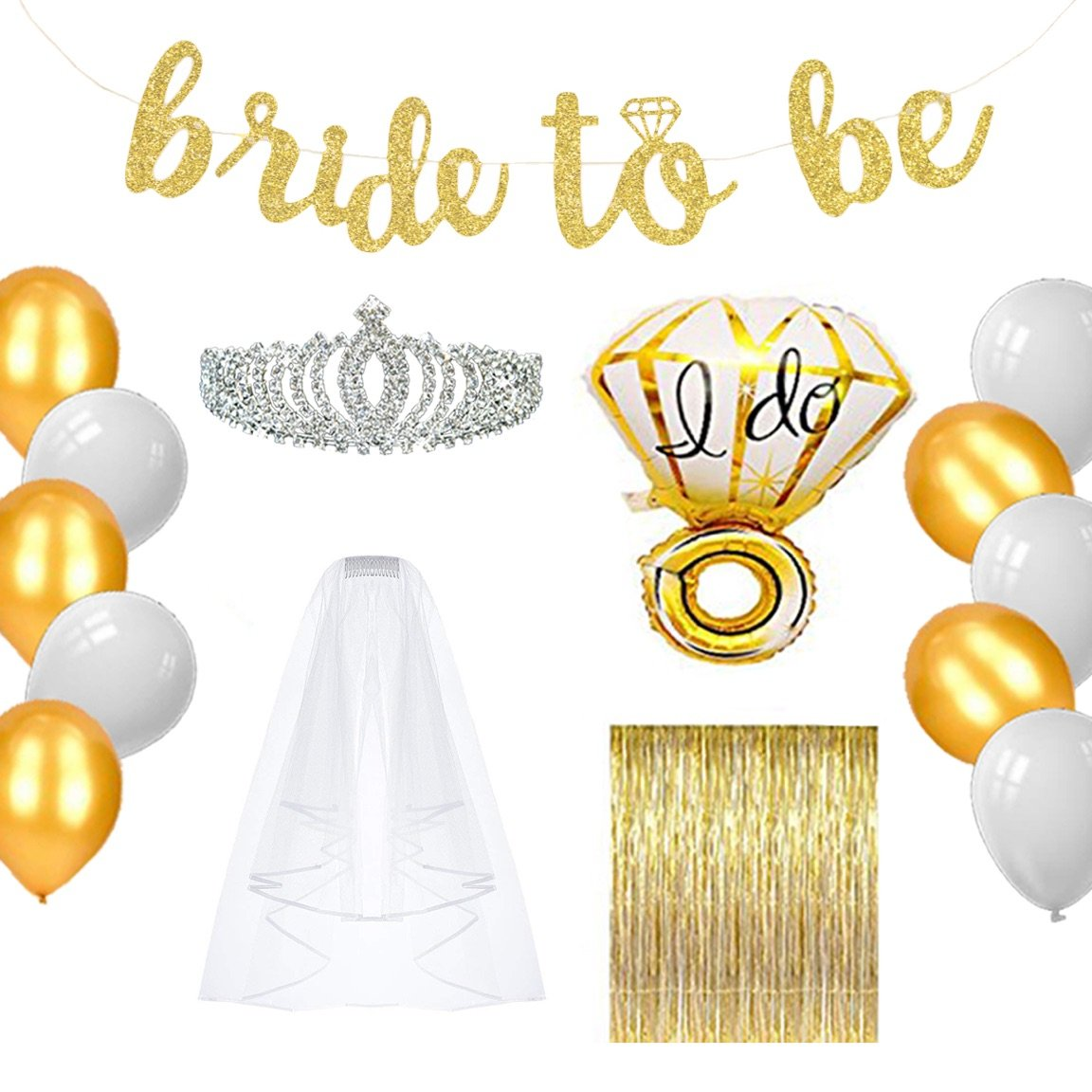 Bachelorette Party Decorations & Supplies - Gold Bridal Shower Favors Kit (Engagement Accessories & Decor Pack - Bride Banner, Sash, Balloons, Veil, Foil Fringe Curtain, Rhinestone Tiara)