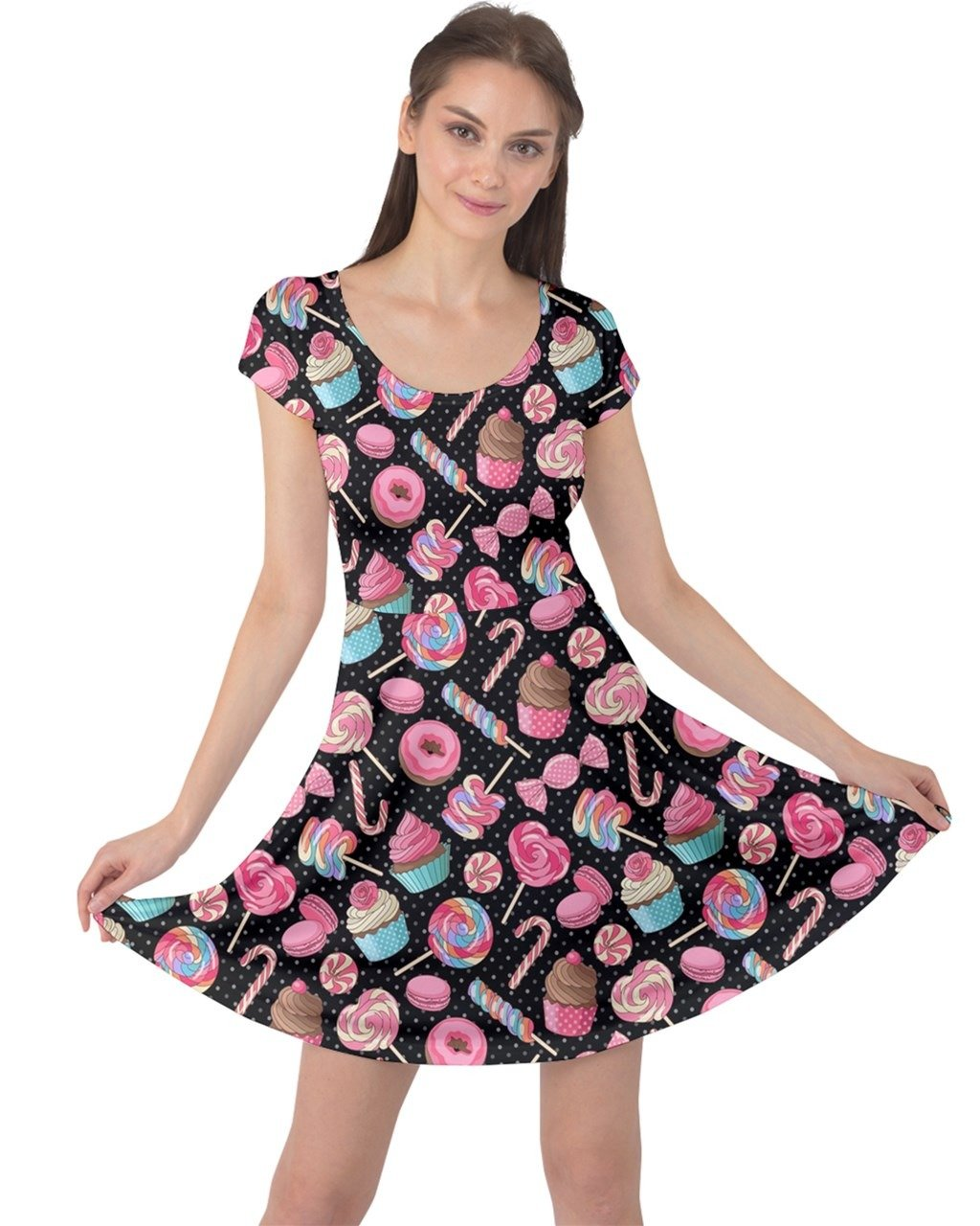 CowCow Womens Black Yummy Colorful Sweet Lollipop Candy Macaroon Cupcake Donut Cap Sleeve Dress, Black - M by CowCow