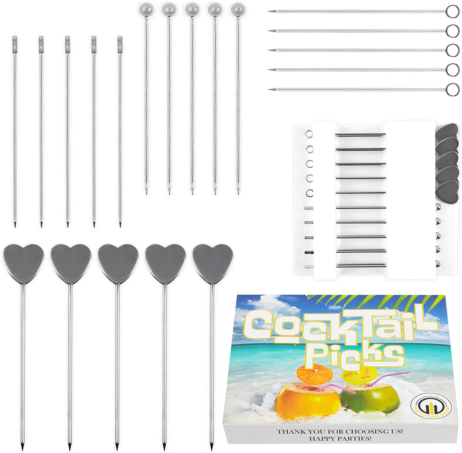 Cocktail Picks for Fancy Drinks and Appetizers - 20 Pcs Different Stainless steel for Martini Food Bar Party-Gift Box with Holder-Ball Square Ring Heart Toothpick Upgrade Design for Cocktails