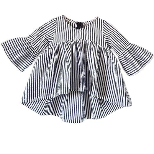 bacf3c1e4 Amazon.com  Newborn Infant Baby Girl Top Stripe Blouse Ruffle Half ...
