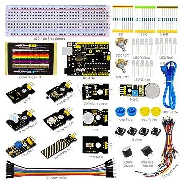 keyestudio Uno Kit de Sensor para Arduino Starter PIR LED Resistencia Breadboard Jumper PDF K2