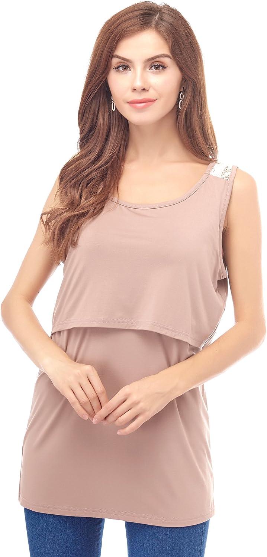 Bearsland Womens Maternity Nursing Tank Tops Sleeveless Breastfeeding Shirts