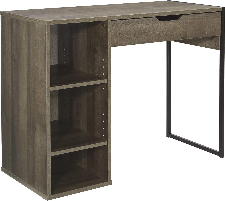 OSP Home Furnishings Ravel 40-Inch Wide Writing Desk, Grey Oak