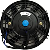 Upgr8 Universal High Performance 12V Slim Electric Cooling Radiator Fan With Fan Mounting Kit (7 Inch, Black)