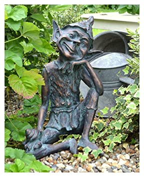 Pixie on Snail  Garden Ornament Statue Figurine Bronze Finish