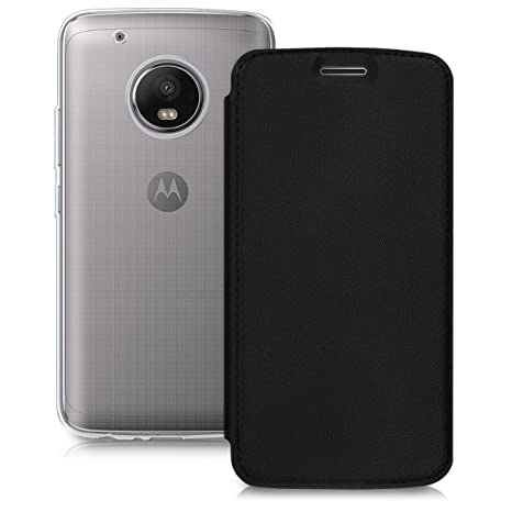 kwmobile Funda para Motorola Moto G5 Plus - Carcasa para móvil de [Cuero sintético] - Case [Plegable] en [Negro/Transparente]