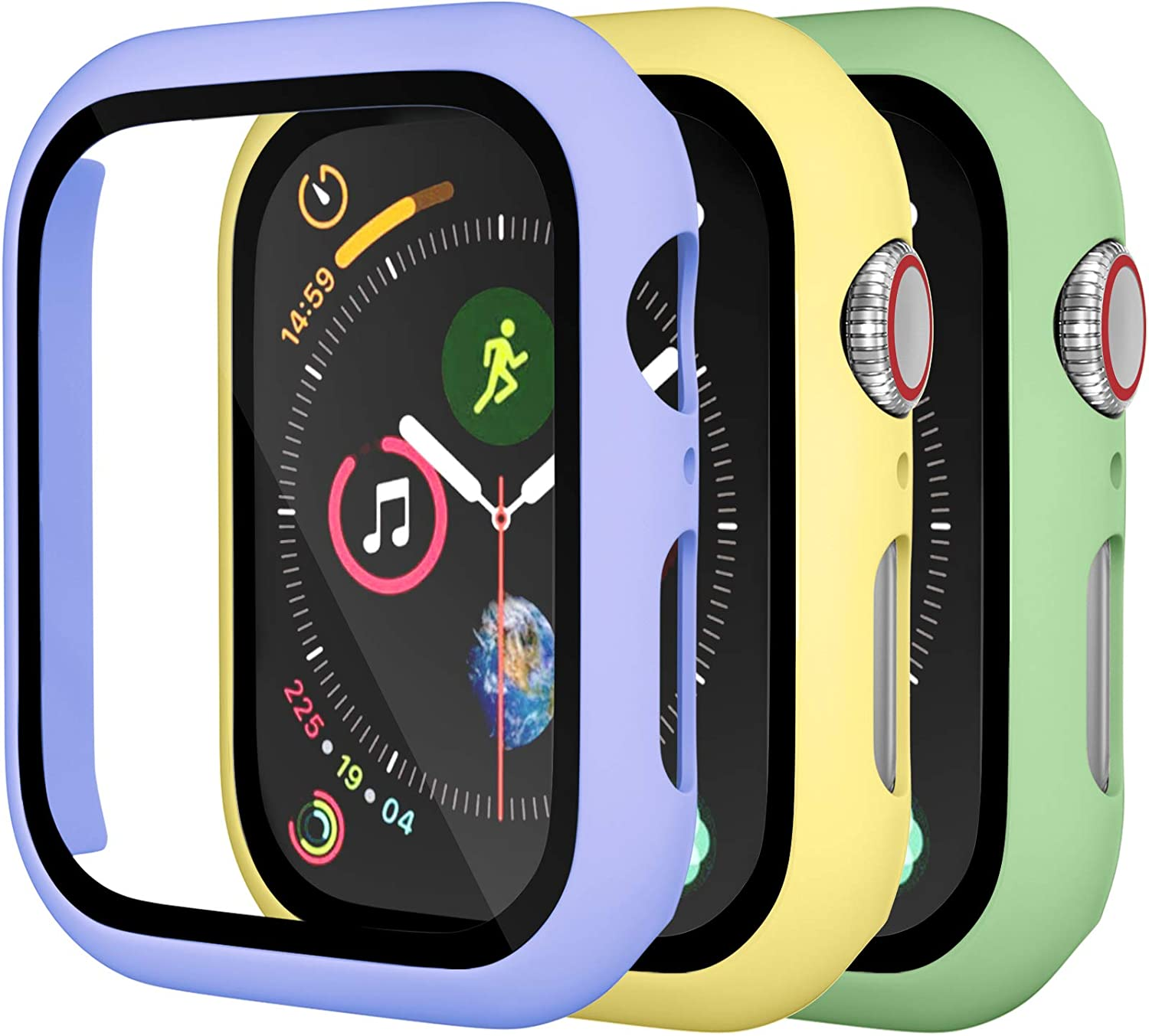 [3 Pack] Charlam Hard PC Case Compatible with Apple Watch 40mm SE iWatch Series 6 5 4 Built-in Screen Protector Slim Guard Bumper Overall Shock-proof Protective Case Cover, Lilac, Yellow, Green,3 Pack