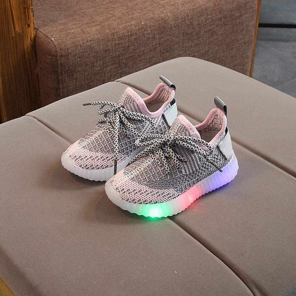 BingYELH Children Toddler Baby Girls Mesh LED Light Shoes for 1-6 Years Old Soft Kids Luminous Outdoor Sport Sneakers