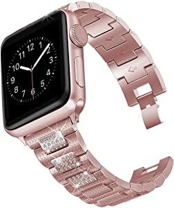 hooroor Bling Bands Compatible Apple Watch Band 38mm 40mm/42mm 44mm iWatch Series 6 SE 5 4 3 2 1 for Women Men, Diamond Rhinestone Bracelet Stainless Steel Metal Replacement Wristband Strap