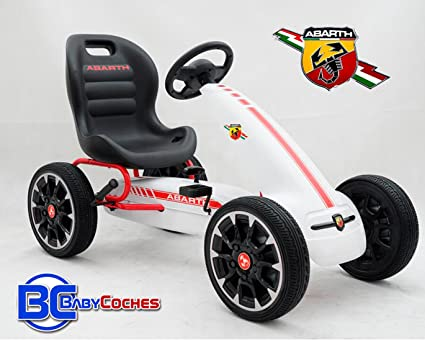 Babycoches Kart Coche de Pedales Fiat Abarth, Ruedas neumaticas, carenado de Proteccion, Freno de Mano, Asiento Regulable, Color Blanco