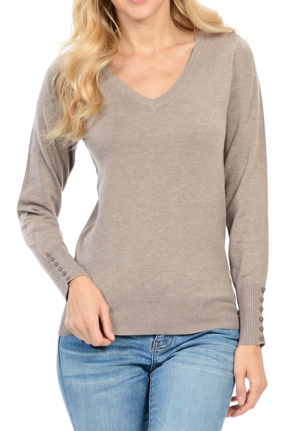 YourStyle Long Sleeve Classic Sweater-Turtle Neck/V-Neck/Crew Neck S-XL (Small, V65-H.Taupe)