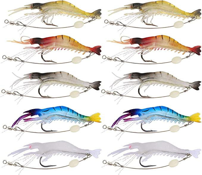 10PCS Saltwater Soft Fishing Lures Bait Shrimp  Simulation Prawn Fish Tackle
