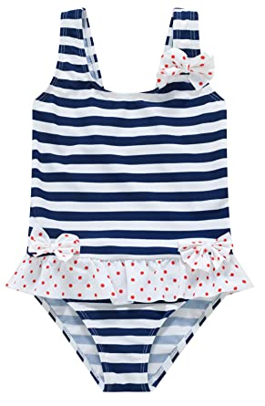 2c16ca5896163 Wantdo Little Girl's One Piece Ruffle Swimsuit Striped Bathing Suit Blue  and White 3-4