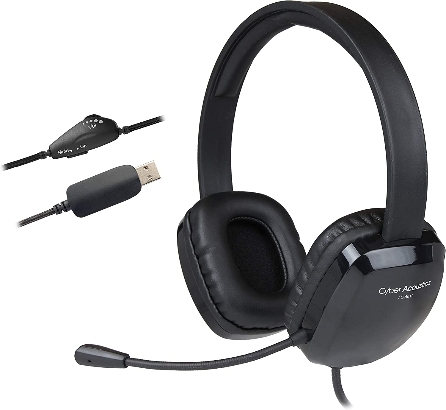 Cyber Acoustics USB Stereo Headset with Headphones and Noise Cancelling Microphone for PCs and Other USB Devices in The Office, Classroom or Home (AC-6012)