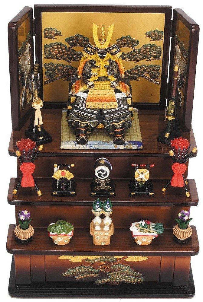 【ミニ五月人形】5087 鎧大緋三段飾り(茶)(毛バタキ付) B00FJP7IDI