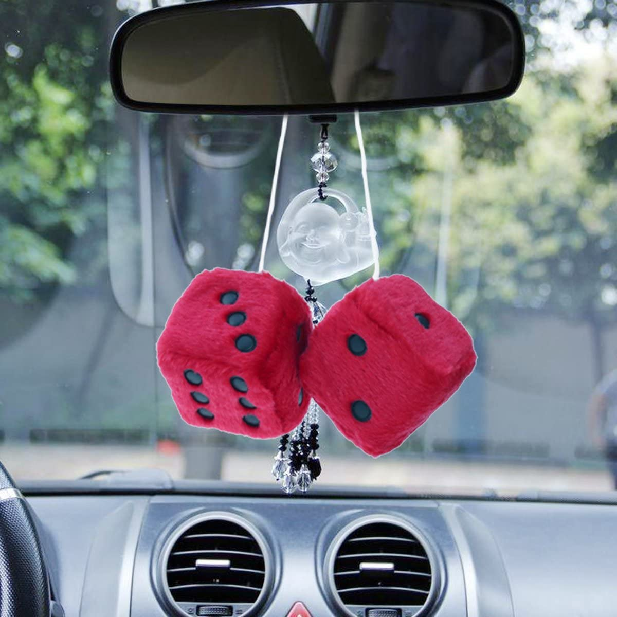 Car Mirror Hanging Fluffy Car Dice Furry Fuzzy Plush Key Chain Ornaments White