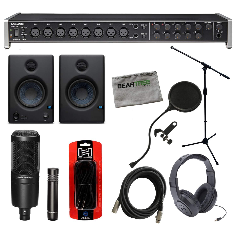 Tascam US-16x08 USB Interface w/Studio Monitors, Headphones, Mic Stand, 2 Micro