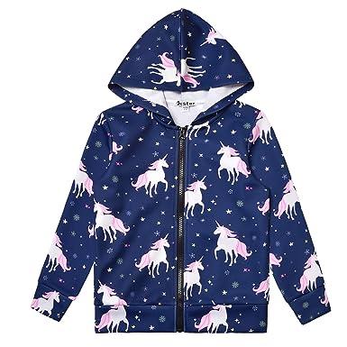 4bf5d72f7 Amazon.com  Girls Zip Up Hoodie Jacket Unicorn Sweatshirt with ...