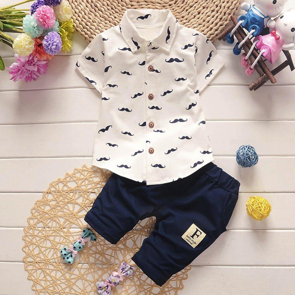 Toddler Kids Baby Boys Summer Clothes Set Cartoon Beard Print Shirt Tops Shorts Pants Outfit