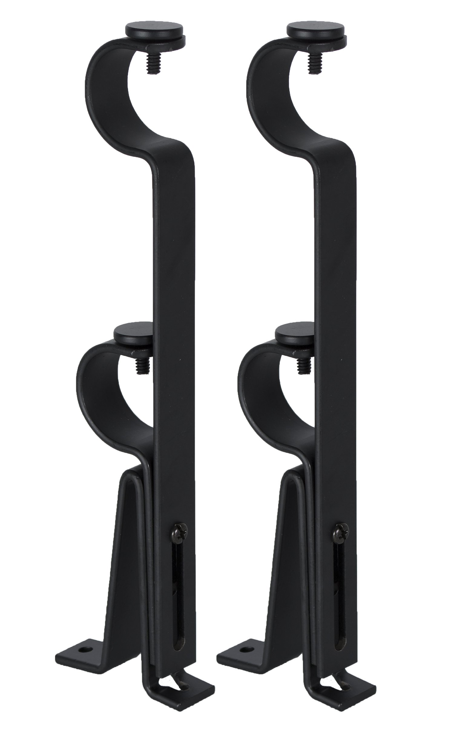 Urbanest Adjustable Double Curtain Rod Bracket, up to 1 1/8-inch Diameter Rods, 2 Pieces, Black