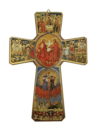 Religious Art The Life of Christ Holy Trinity Icon on Wood Wall Cross Crucifix, 9 1 2 Inch
