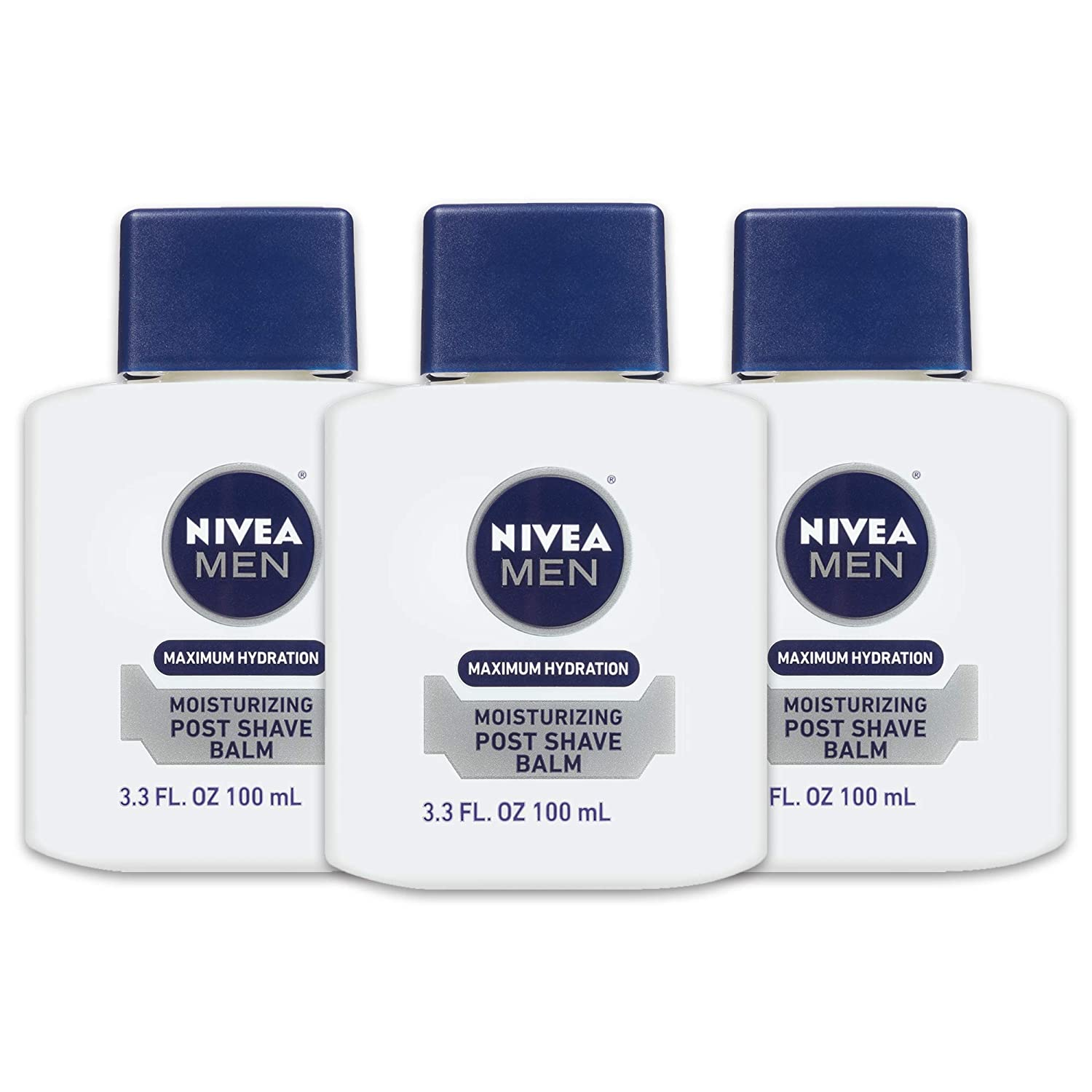 NIVEA Men Maximum Hydration Moisturizing Post Shave Balm - No Greasy Feel - 3.3 fl. oz Bottle (Pack of 3)