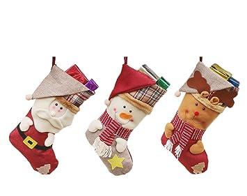 LeisialTM 3pcs Calcetines Navideños Muñeco de Nieve Muñeca de Reno Creativo Caramelo Calcetines Regalos de Decoración Colgante Decoración Navidad: ...