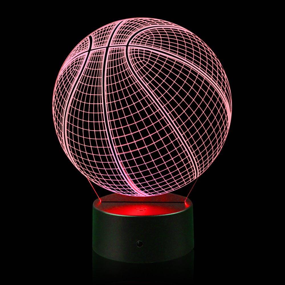 3D Illusion Basketball Night Light Lamp with 7 Color Change, Touch Base, Power by AA Batteries by AZALCO (Image #3)