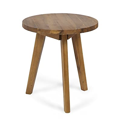 Great Deal Furniture Candance Outdoor Side Table, Farmhouse-Style, Naturally-Stained Acacia Wood Frame : Garden & Outdoor