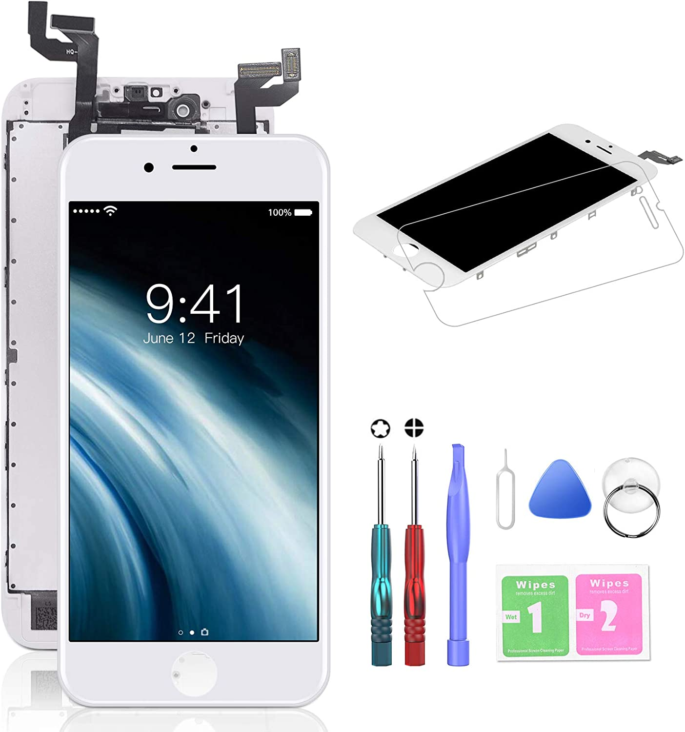for iPhone 6S LCD Screen Replacement 4.7 inch Black 3D Touch Screen Display Digitizer Repair Kit Assembly with Complete Repair Tools and Screen Protector