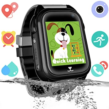 Impermeable GPS Smartwatch para Niños, Reloj inteligente Phone con GPS LBS Tracker SOS Chat de voz Cámara Despertador Podómetro Juego Cálculo para ...