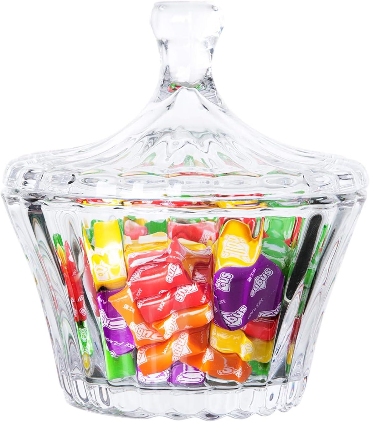 Diamond Star Candy Dish Small Decorative Glass Jar with Lid Candy Buffet Storage Jar (Clear)