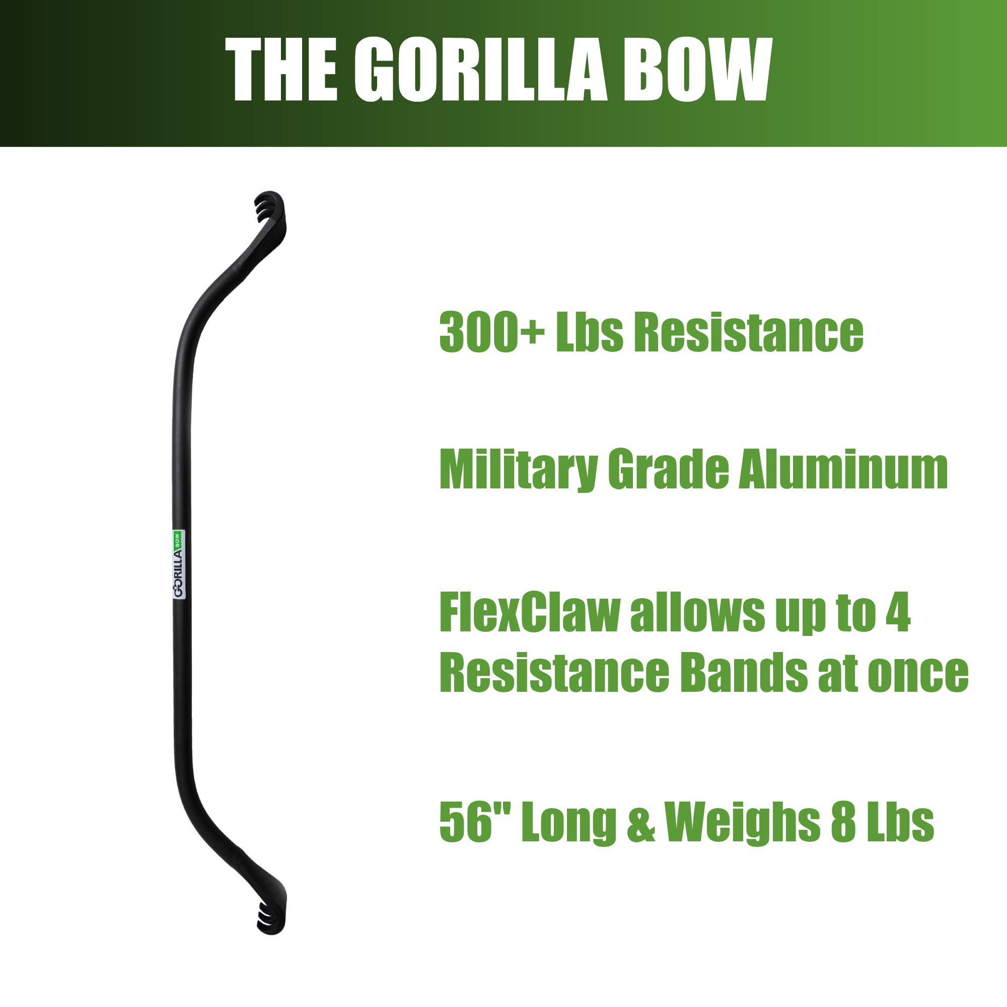 Gorilla Bow Portable Home Gym Resistance Band System | Weightlifting & HIIT Interval Training Kit | Full Body Workout Equipment (Black) by Gorilla Fitness (Image #4)