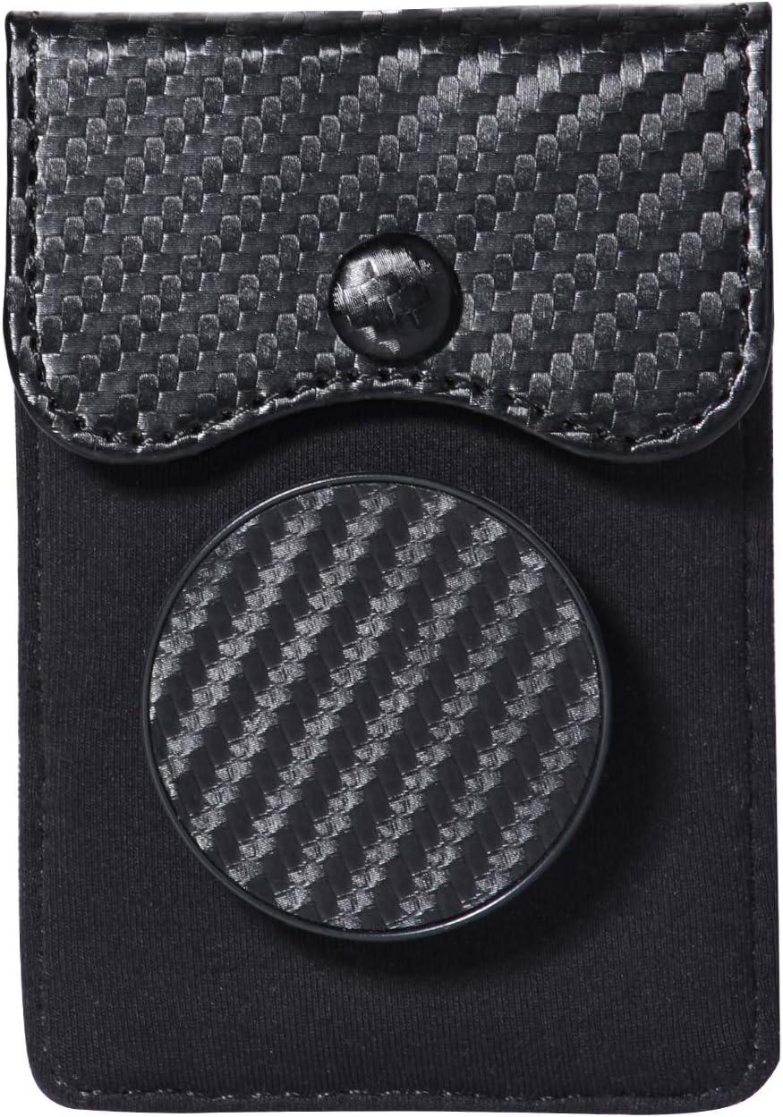 FRIFUN Ultra-Slim Self Adhesive Credit Card Holder Wallet Cell Phone Wallet Grip Kickstand for Phone and Cell Phone Stick on Wallet Card Holder Phone Stand Pocket for All Smartphones (Stand Black)