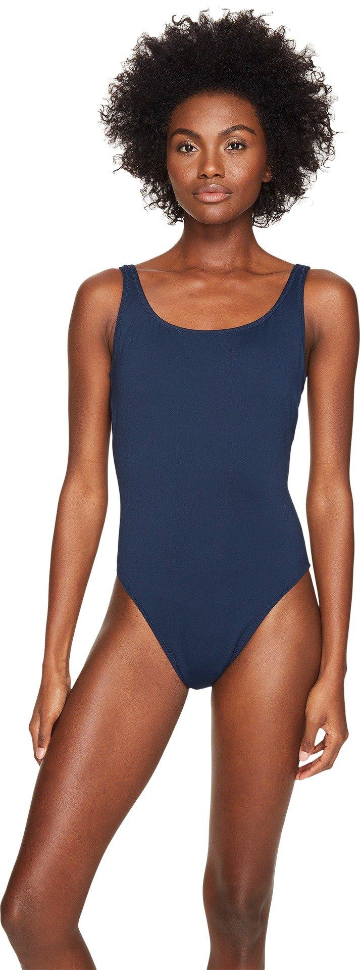 Letarte Women's Solid Lattice Back One-Piece Dusty Navy Swimsuit