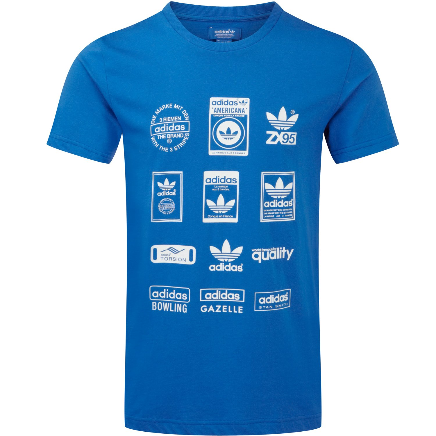 adidas Originals Mens Labels Short Sleeve T-Shirt - Blue - Small