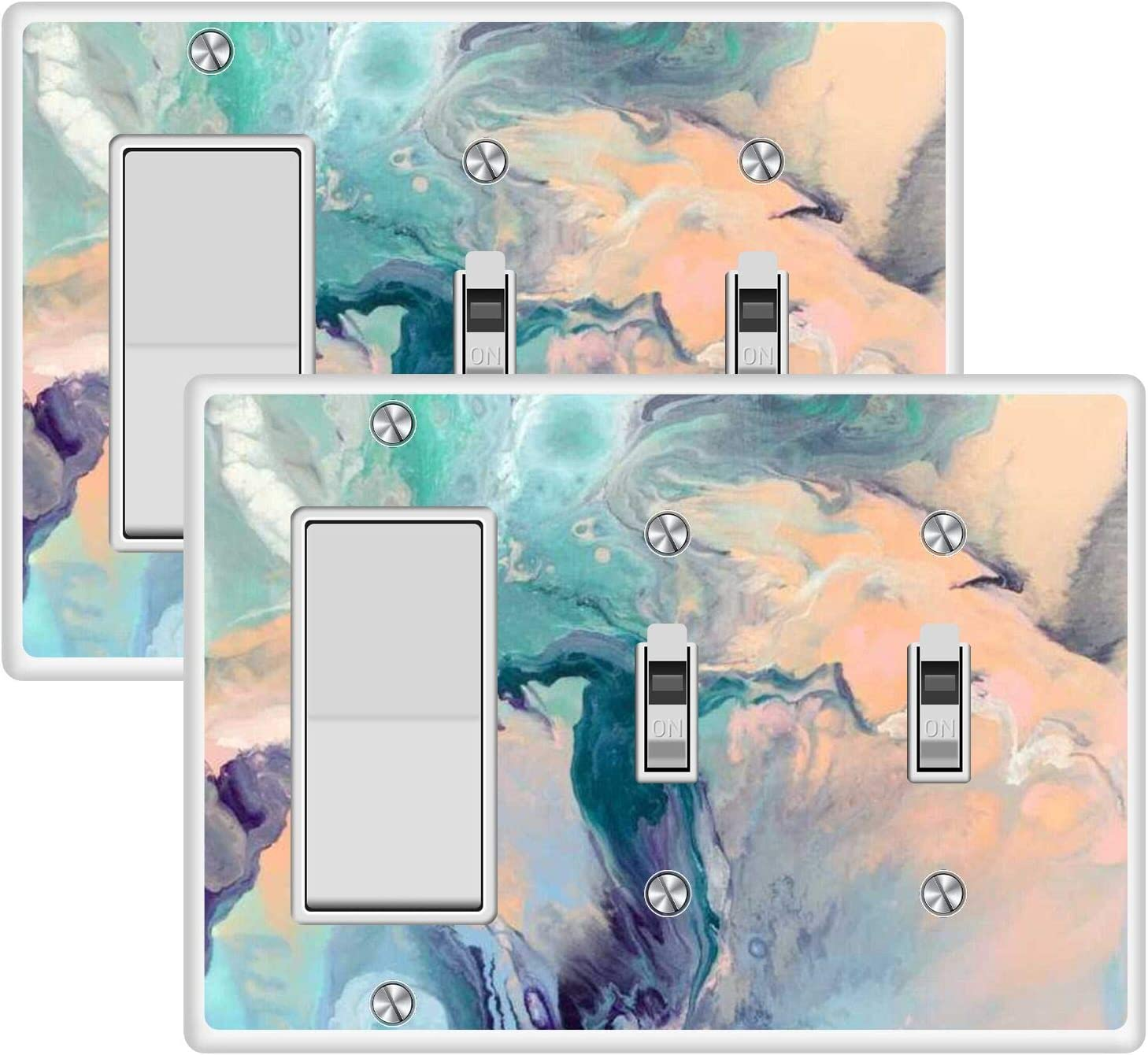 KANGHAR Square Single Decor+Double Toggle White Electrical Outlet Cover Plates Marble Pattern Wall Plates for Outlets