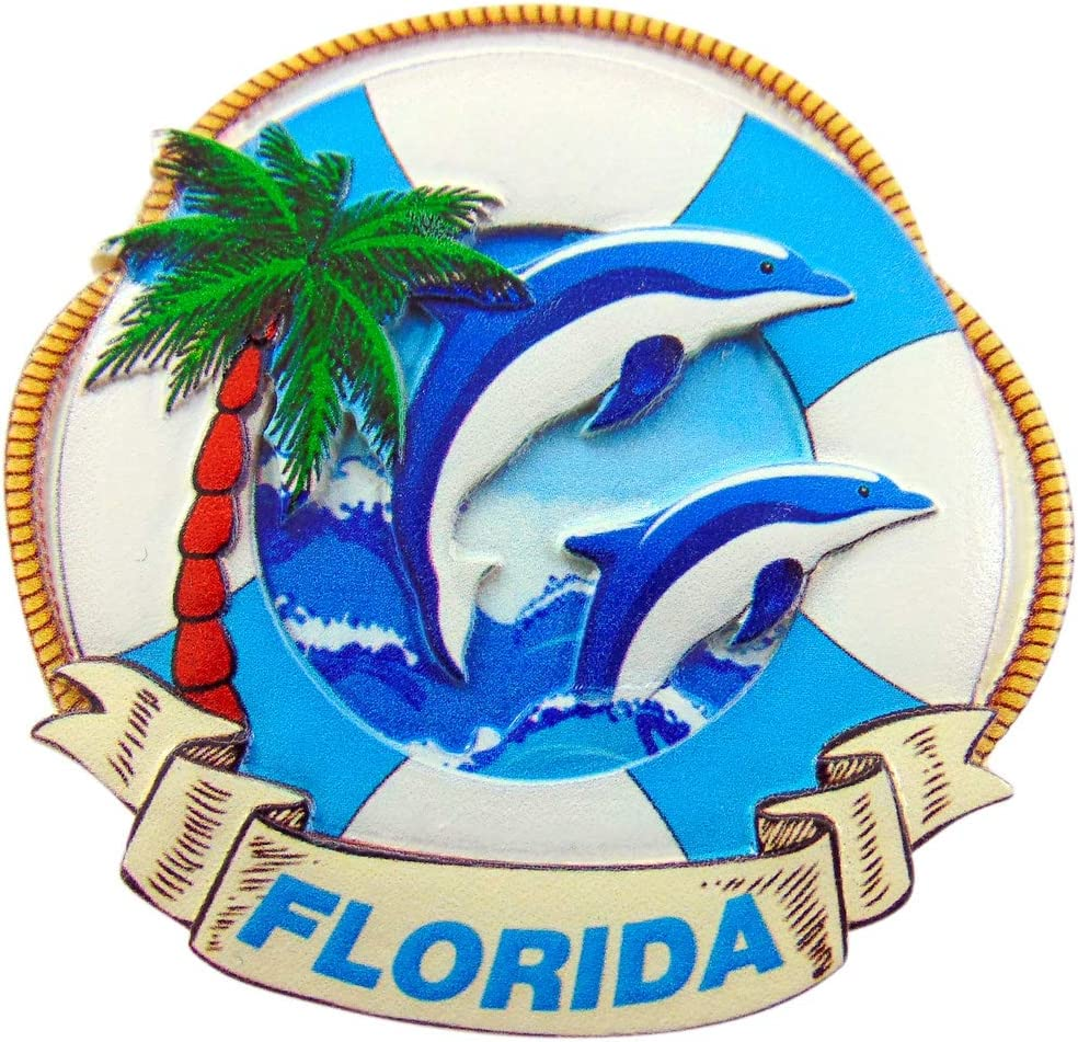 Florida Magnet with Dolphin and Palm Trees Embossed Souvenir Decoration
