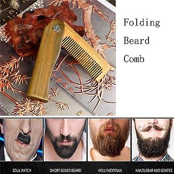 Amazon com : Folding Beard Comb Wooden Beard Comb Pocket