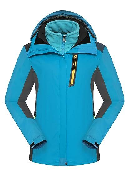 Walkvel Mujer Chaqueta de Montaña Abrigo Impermeable Invierno 3-en-1 Ropa Deportiva Cortaviento