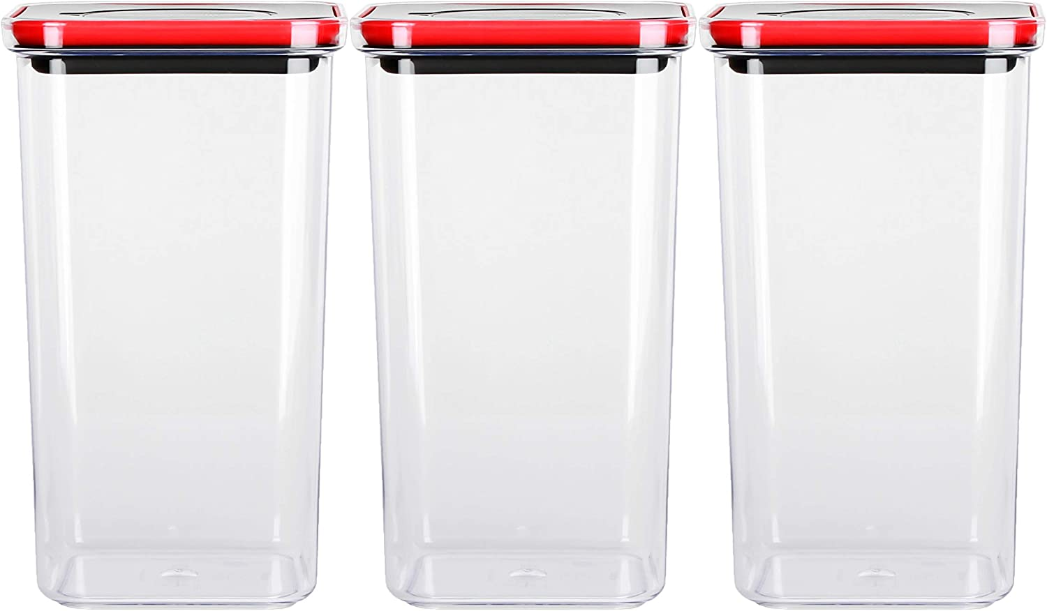 NEOFLAM Airtight Smart Seal Food Storage Container (Set of 3, Square) | Crystal Clear Body | Modular, Stackable, Nestable Design | Easy to Clean, BPA Free (2.1 L, 71 oz)