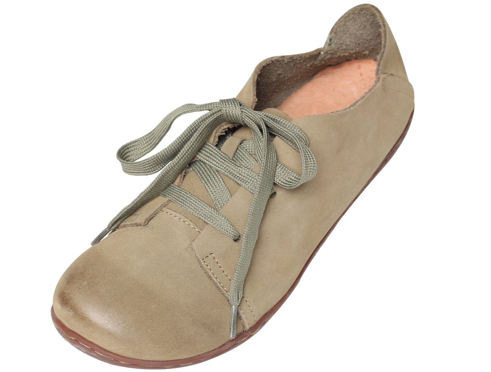 Mordenmiss Women's New Leather Lace Up Flat Shoes Olive 36
