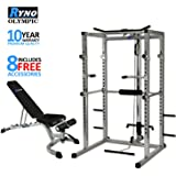 Ryno - Power Rack Squat Cage Weight Bench Combo Package Machine Pull Up Multi Gym