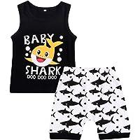 GRNSHTS Baby Boy Short Sets Toddler Baby Shark Doo Doo Print Sleeveless Tops+Shorts Outfits Set