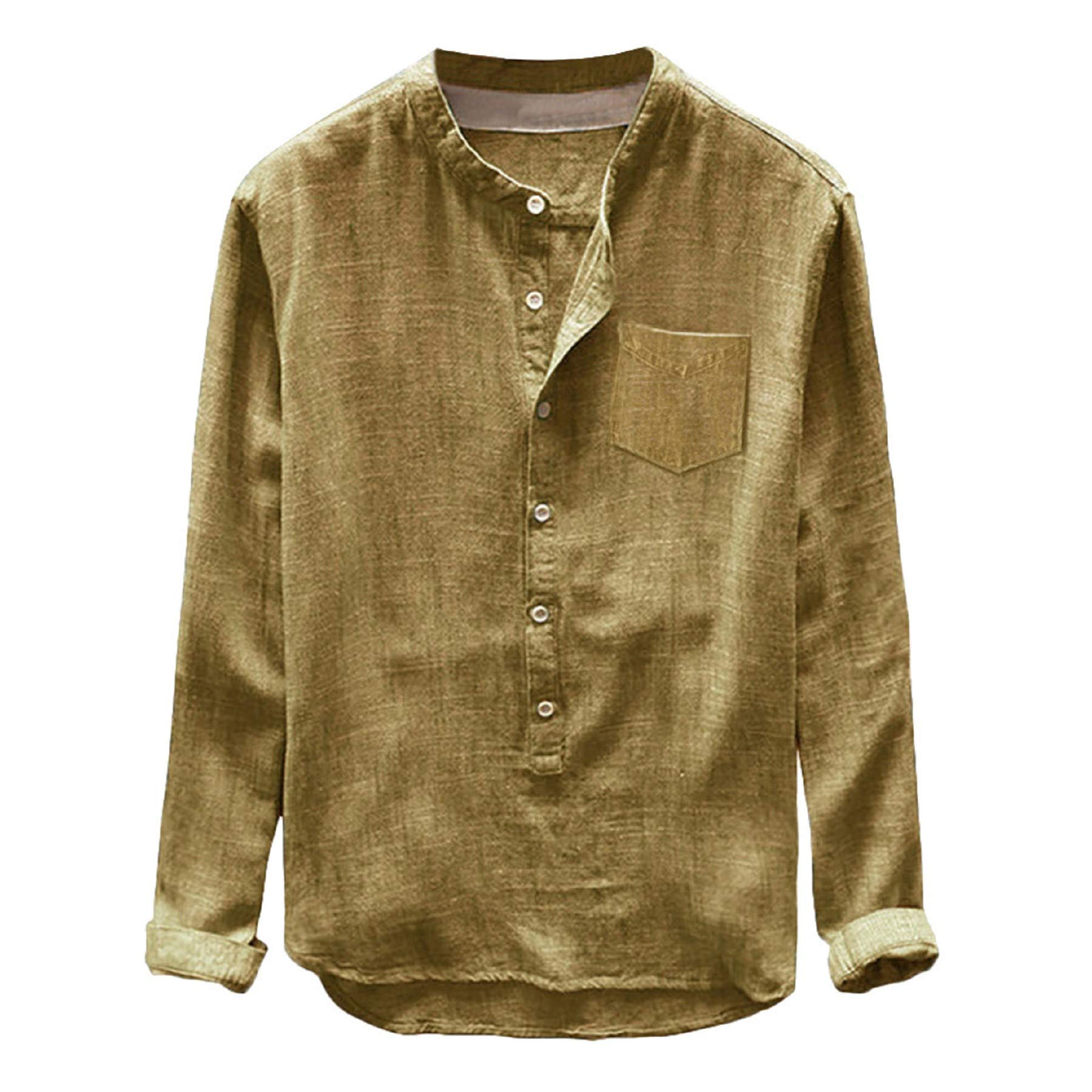 baskuwish Men's T-Shirt,Fashion Mens Autumn Summer Button Casual Linen Cotton Long Sleeve Top Blouse Boy Shirt Yellow