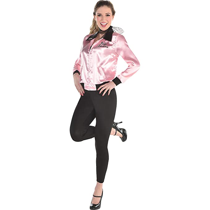 SUIT YOURSELF Grease Greased Lightning Costume for Women, Includes a Pink  Satin Jacket, Pants, and a Scarf