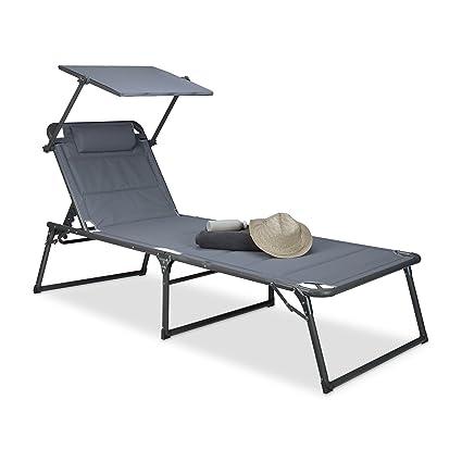 Relaxdays Gartenliege Klappbar Sonnenliege Dach Deckchair Sonnenschutz Verstellbar HBT 37 X 70 200 Cm Anthrazit Amazonde Garten