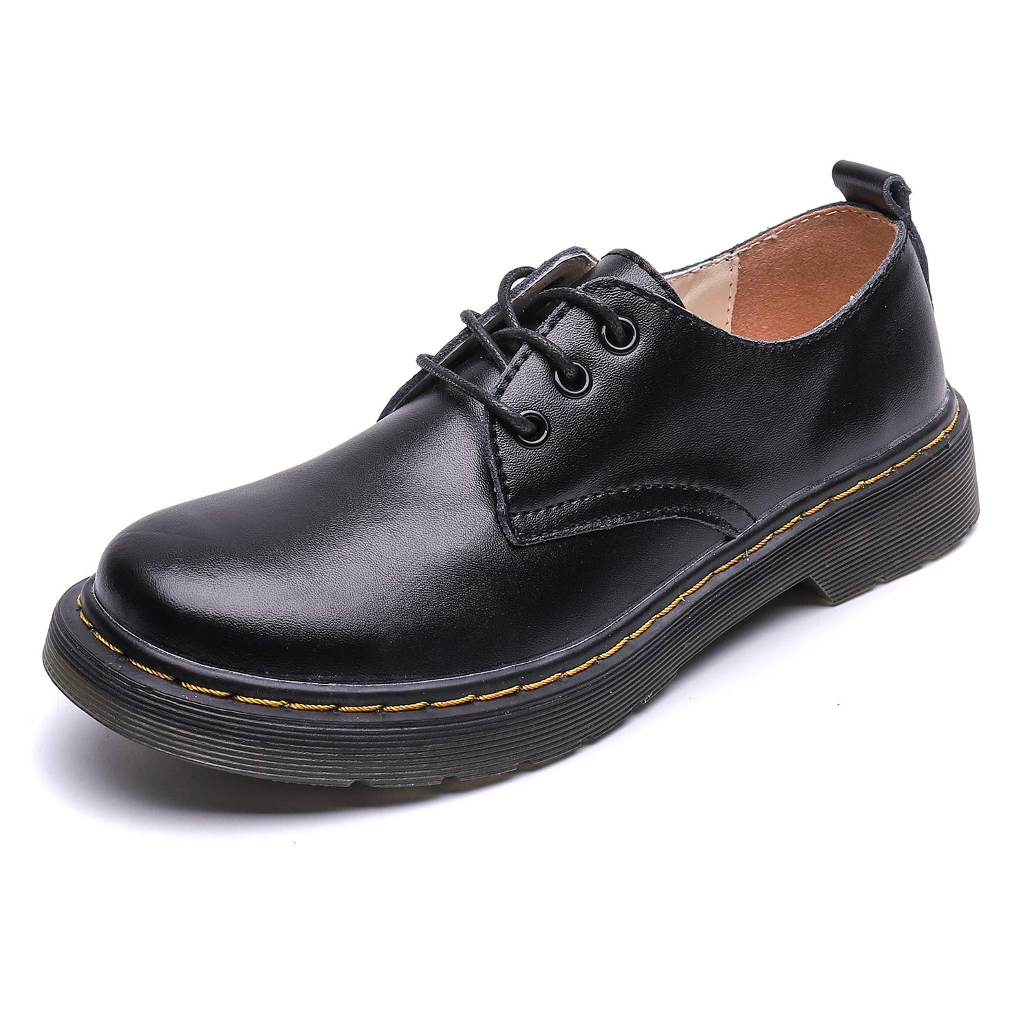 Resonda Womens Leather Shoes Flat Lace Up Oxfords Derby Shoes for Girls ladis,Black,Women us8.5/us9 by Resonda