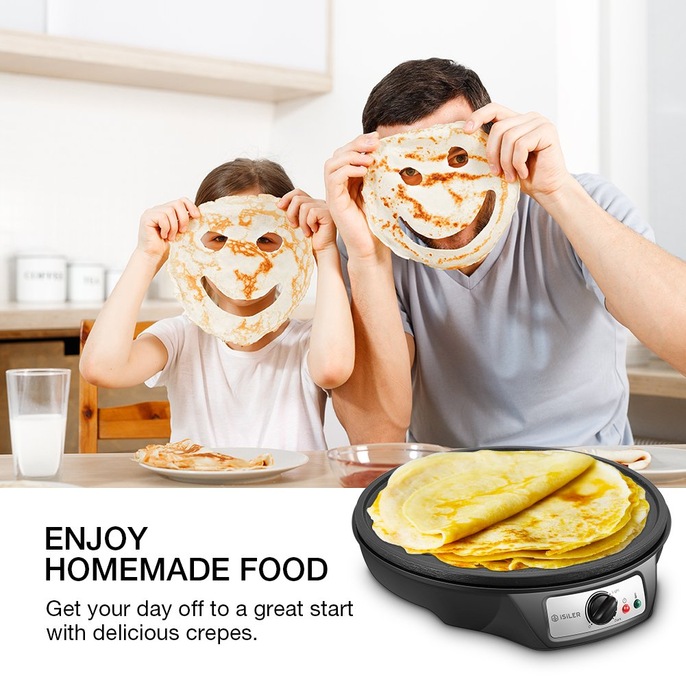 Electric Crepe Maker, iSiLER 1080W Electric Pancakes Maker Griddle, 12'' Electric Nonstick Crepe Pan with Batter Spreader & Wooden Spatula, Precise Temperature Control for Roti, Tortilla, Eggs, BBQ by ISILER (Image #8)