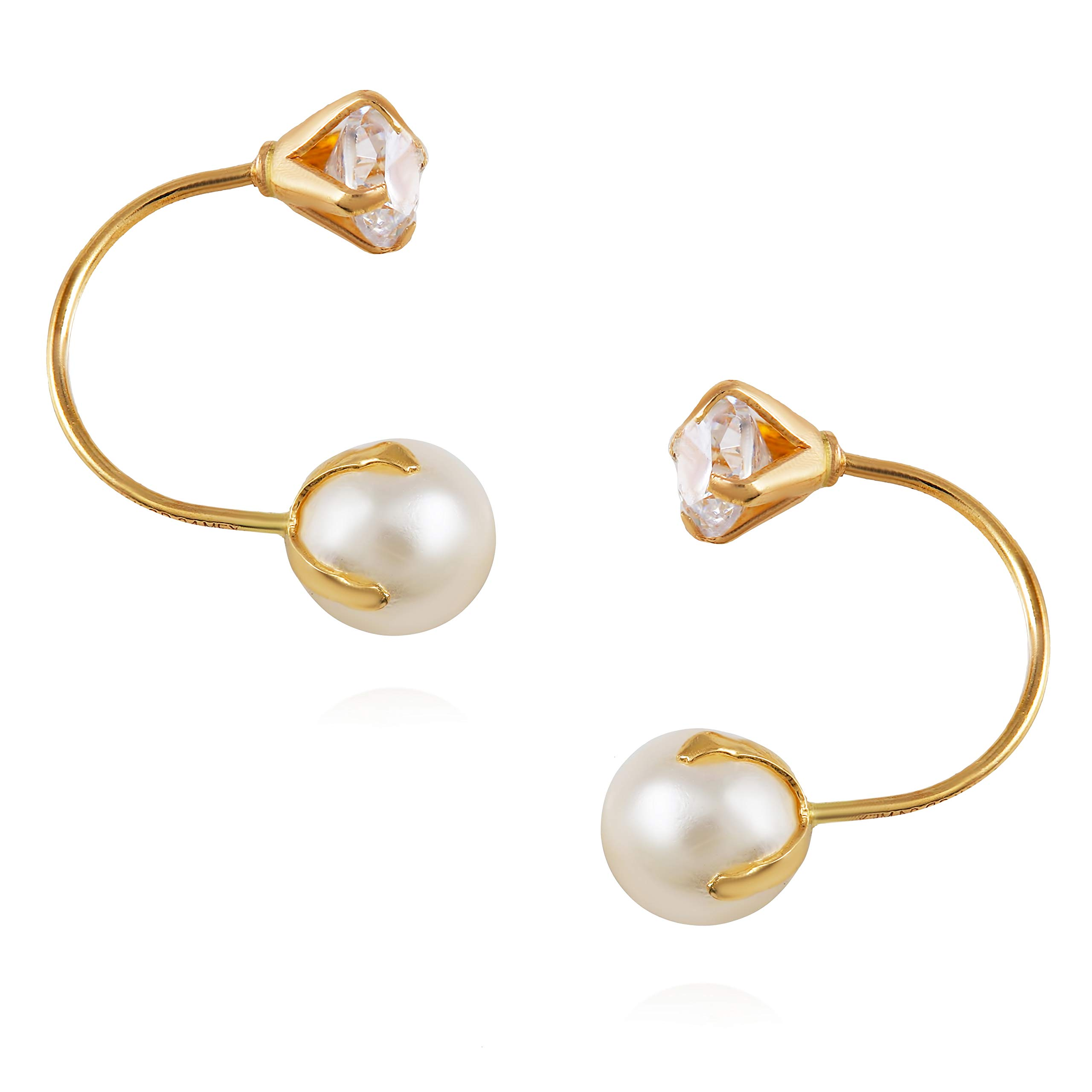 14K Yellow Gold Jacket CZ Stud Earrings for Women and Girls - Hypoallergenic(Pearl)